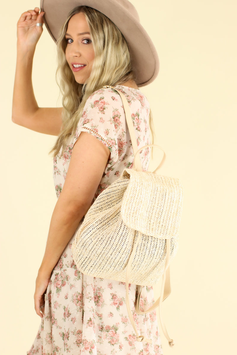 Ivory Port Costa Woven Straw Backpack - FINAL SALE - Madison and Mallory