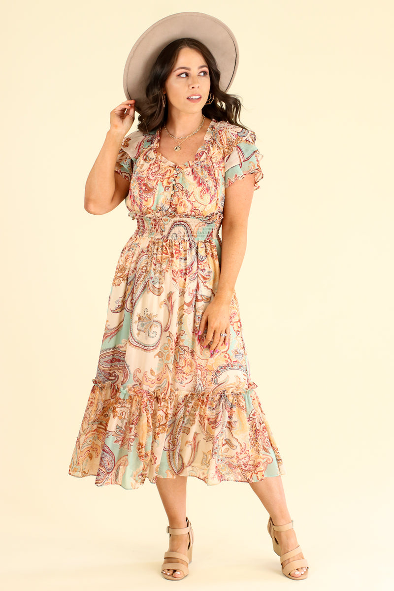 Leota Paisley Flutter Sleeve Dress - Madison and Mallory