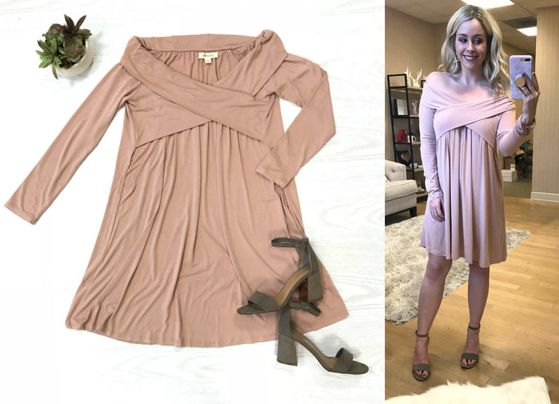 S / Blush Blush Off Shoulder Cross Front Dress - Madison + Mallory