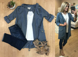 S / Blue Flowy Drawstring Jacket - Madison + Mallory