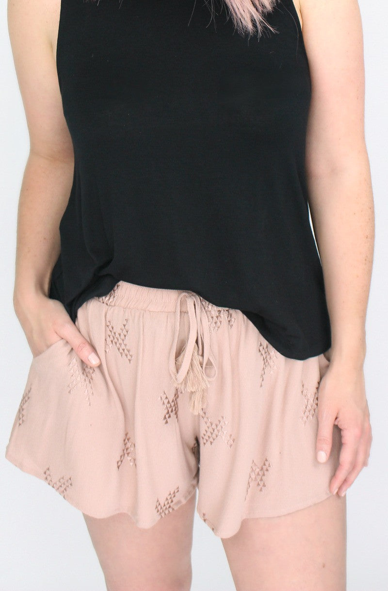 S / Smoke Rose Embroidered Flowy Shorts - Madison + Mallory