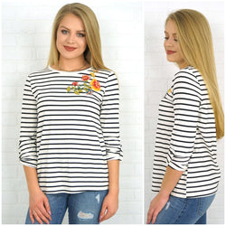 99015dbb Floral Embroidered Striped Top - Madison + Mallory