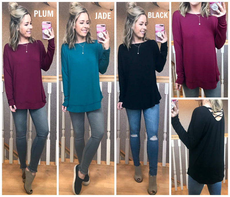 Beatrice Cross Back Long Sleeve Top - Madison + Mallory