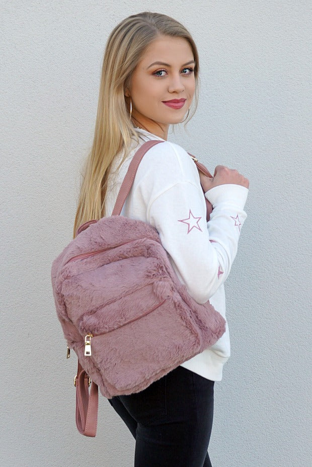 Mauve Faux Fur Backpack - Madison + Mallory