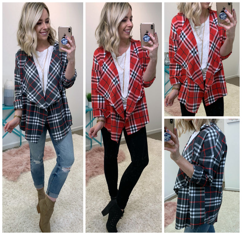 Tartan Plaid Draped Shirt Jacket - Madison + Mallory