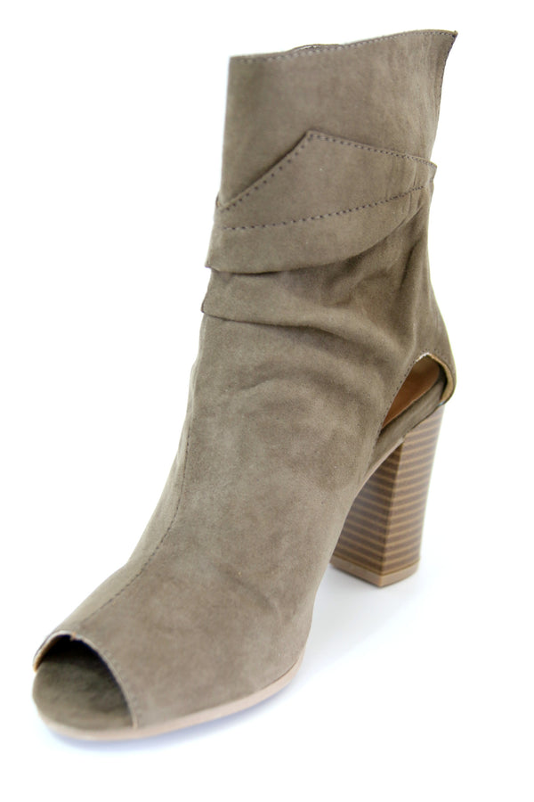 Faux Suede Peep Toe Bootie - FINAL SALE - Madison + Mallory
