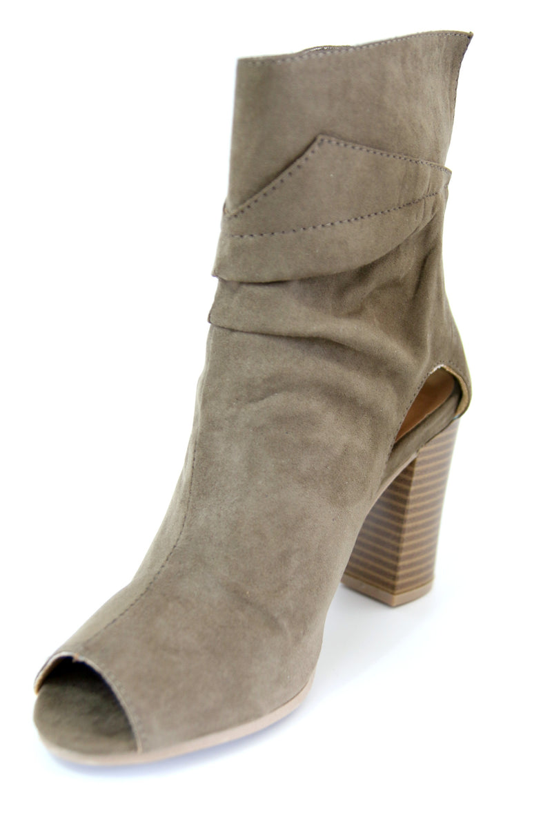 Faux Suede Peep Toe Bootie - Madison + Mallory