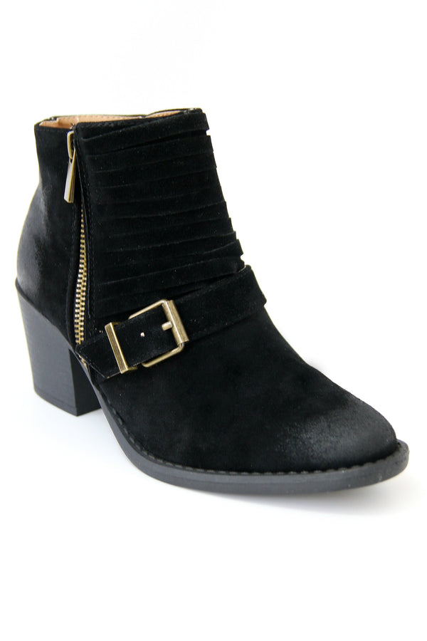 Black Buckled Bootie - Madison + Mallory