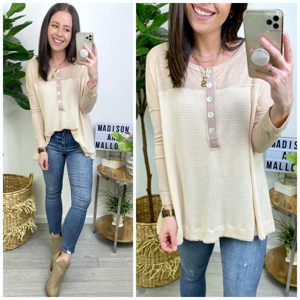 Find You Waffle Knit Henley Top - Madison and Mallory