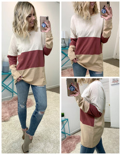 S / Red Bean Reese Color Block Top - Madison + Mallory