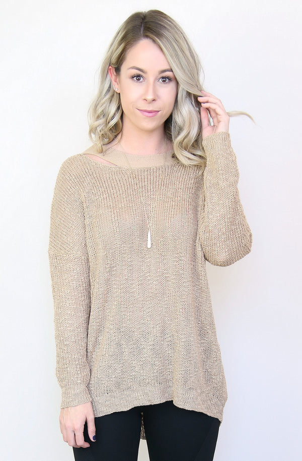 S/M / Mocha Knit Cross Back Sweater - Madison + Mallory