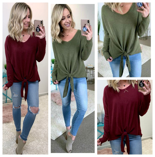 Front Tie Waffle Knit Top - Madison + Mallory