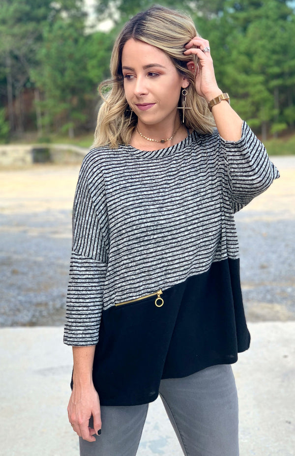 S / Black Ivy Striped Top - Madison + Mallory