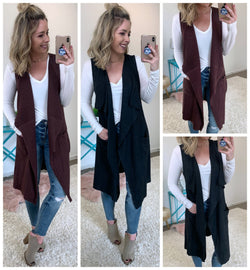 Open Front Ribbed Sweater Vest - Madison + Mallory
