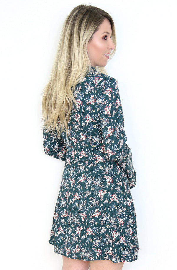 Floral Tie Neck Dress - Madison + Mallory