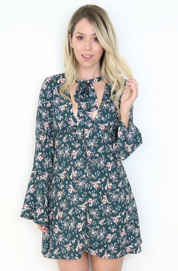 S / Teal Floral Tie Neck Dress - Madison + Mallory
