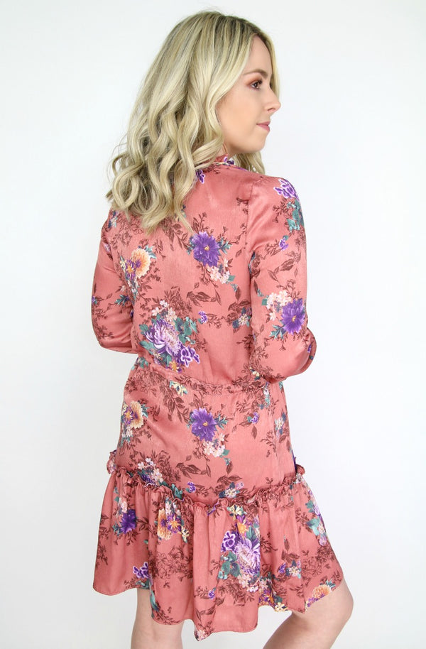 Satin Floral Ruffle Waist Tie Dress - Madison + Mallory