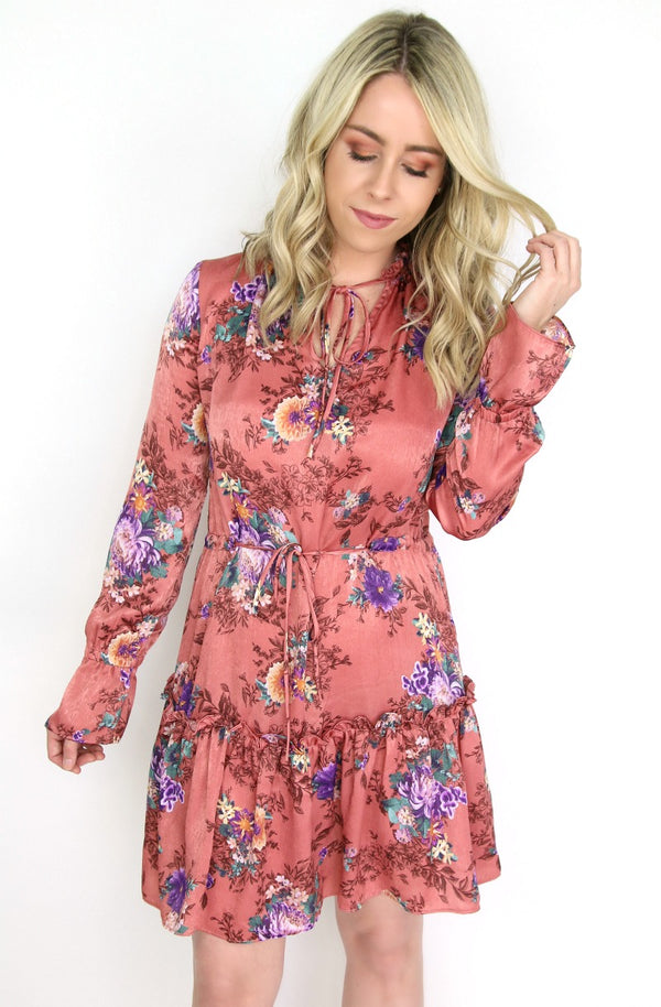 S / Brick Satin Floral Ruffle Waist Tie Dress - FINAL SALE - Madison + Mallory