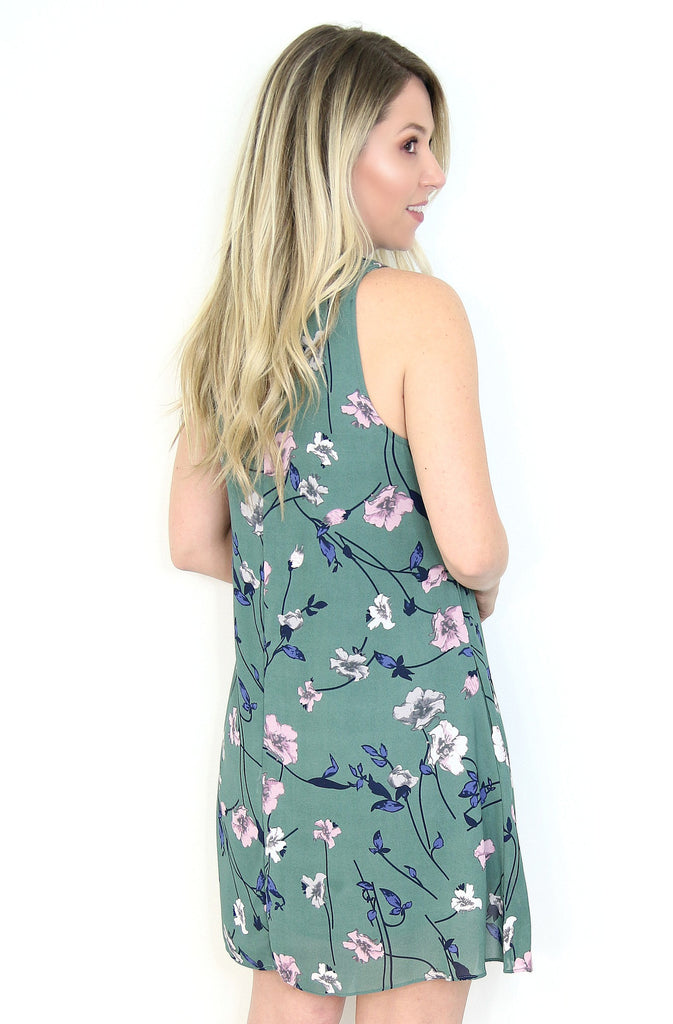 High Neck Floral Shift Dress
