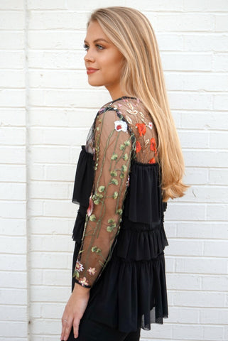 Floral Embroidered Tiered Top
