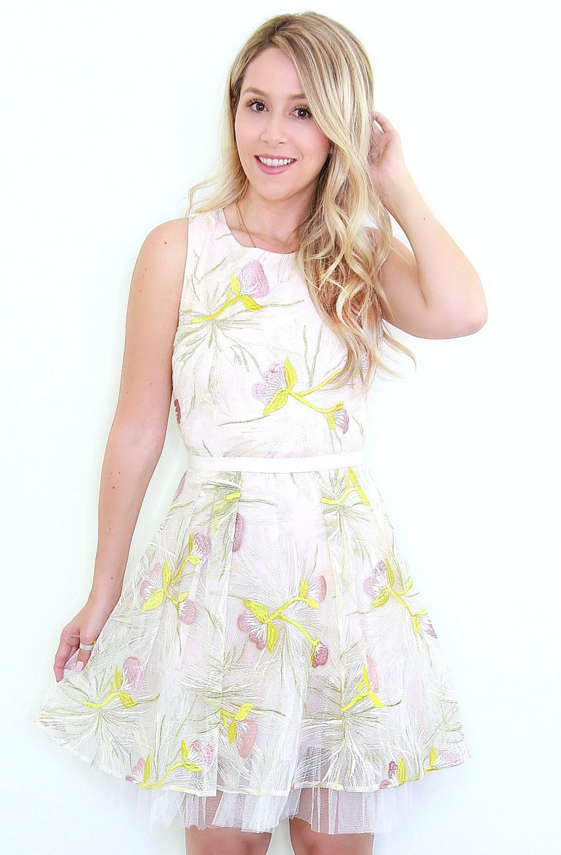 S / Champagne White Floral Embroidered Dress - Madison + Mallory
