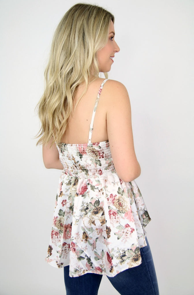 Floral High Low Peplum Tank