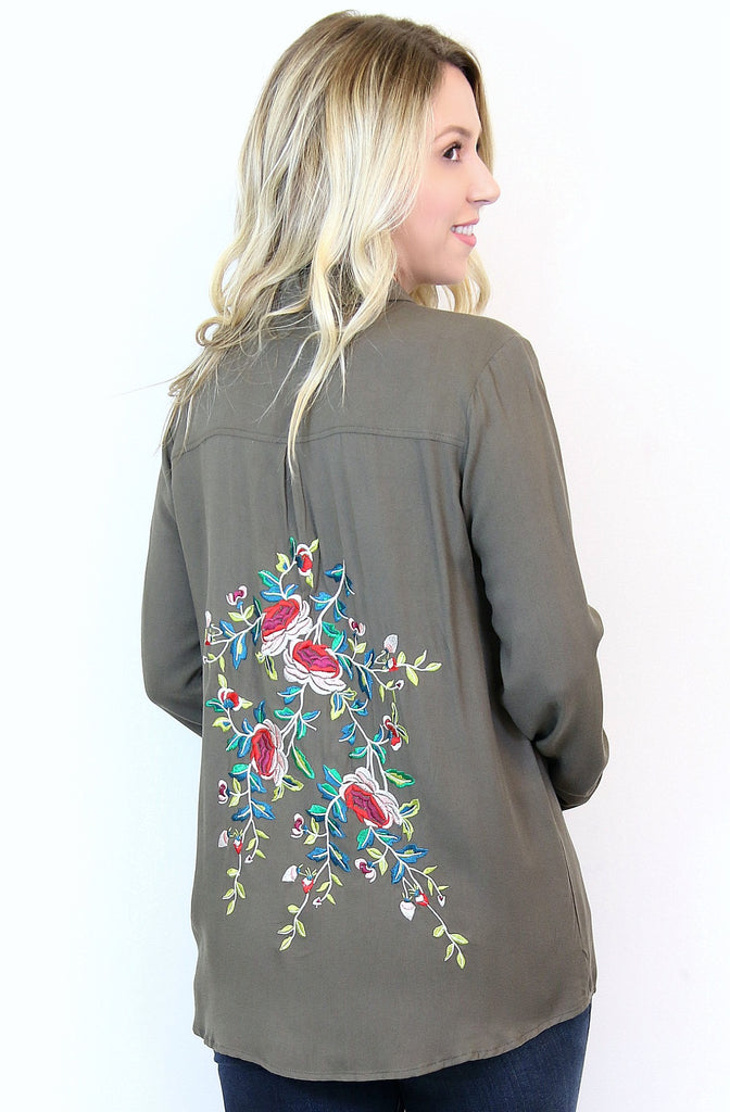 Embroidered Floral Button Down Top