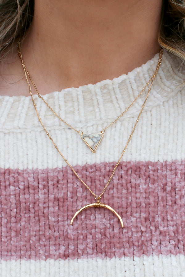 OS / Natural Stop By Layered Stone Necklace - Madison + Mallory