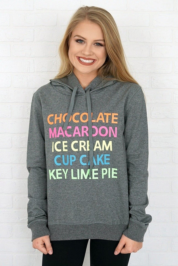 XS / Charcoal Sweet List Graphic Hoodie - Madison + Mallory