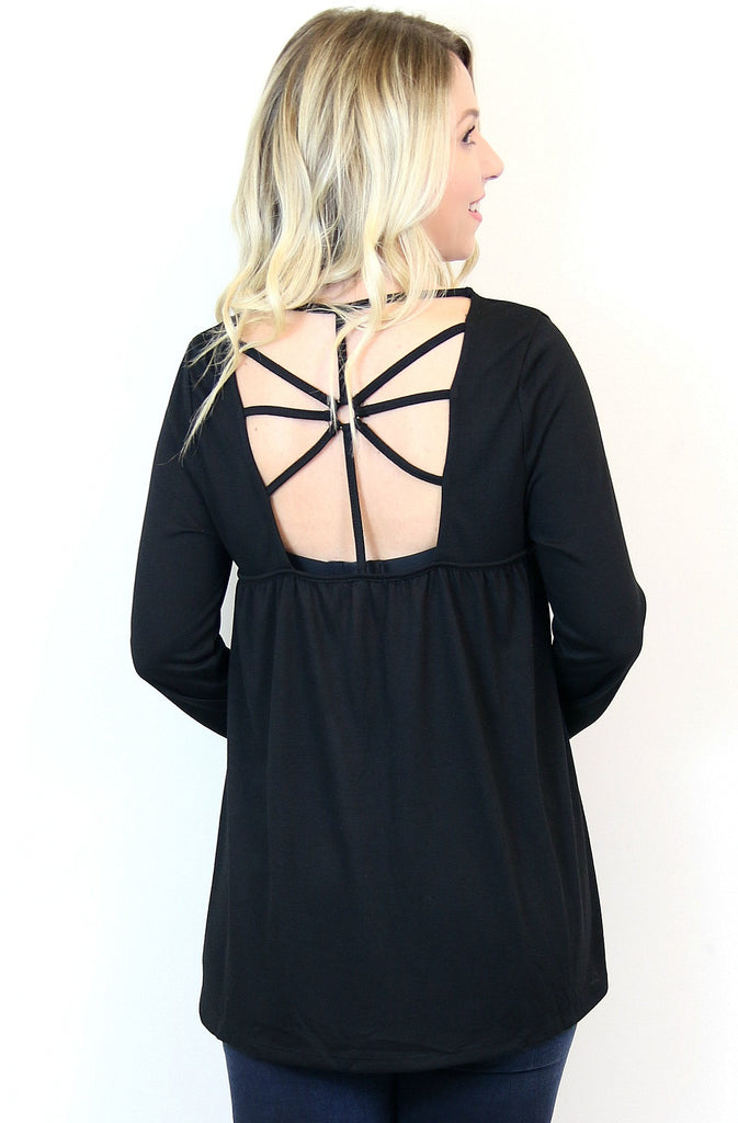 Black Lace Up Criss Cross Top