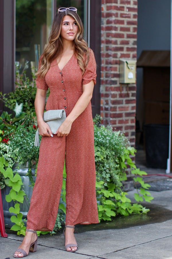 S / Cinnamon Call Me Later Polka Dot Jumpsuit - FINAL SALE - Madison + Mallory