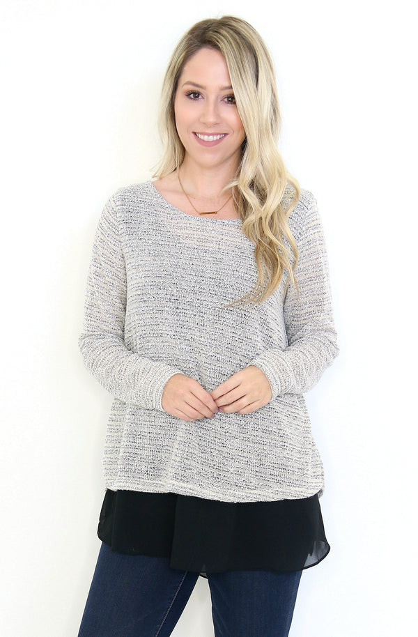 S / Cream Layered Sweater Top - Madison + Mallory
