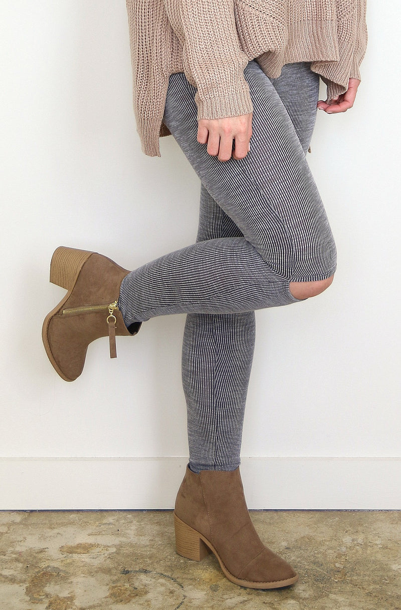 S / Gray Gray Ribbed Leggings - Madison + Mallory