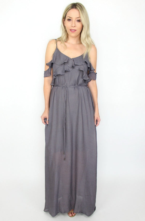 S / Midnight Cold Shoulder Ruffle Maxi Dress - Madison + Mallory