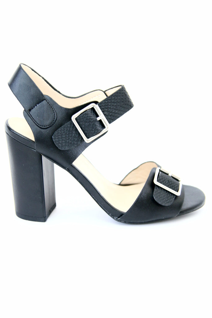 Black Sling Back Block Heel