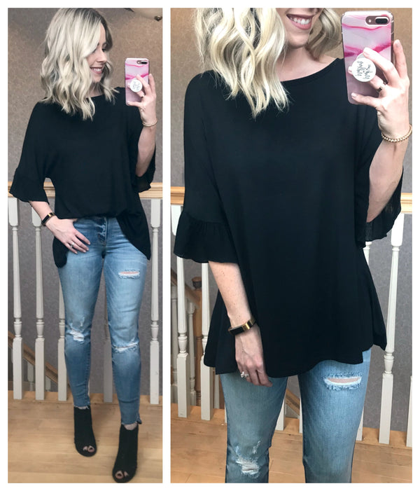 S / Black Ruffle Sleeve Mixed Media Top - Madison + Mallory
