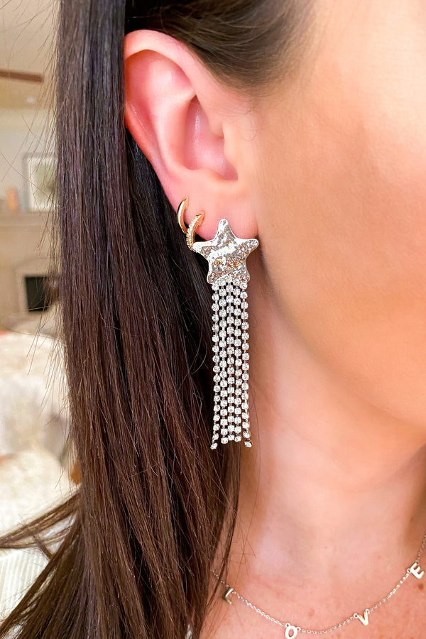 Silver Diamond in the Rough Star Crystal Drop Earrings - Madison and Mallory