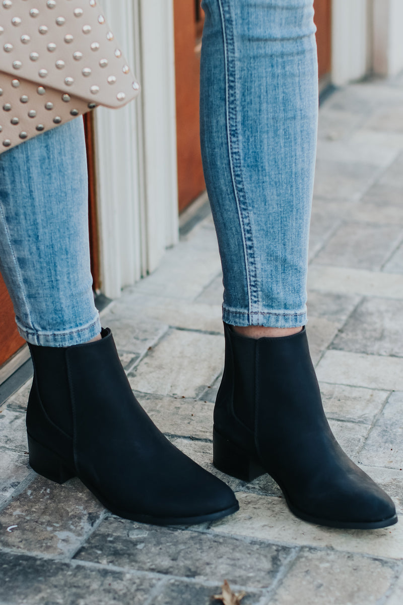 6 / Black What a Night Faux Leather Booties - Madison and Mallory