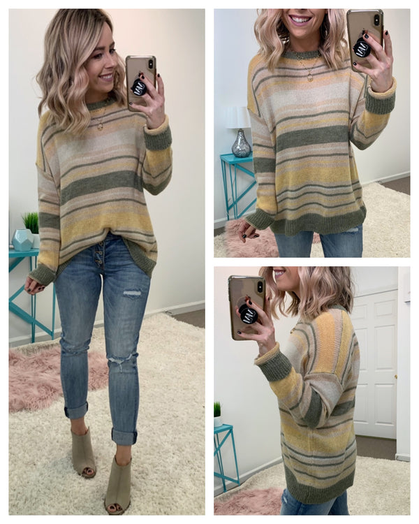 Ryder Color Block Striped Sweater - Madison + Mallory
