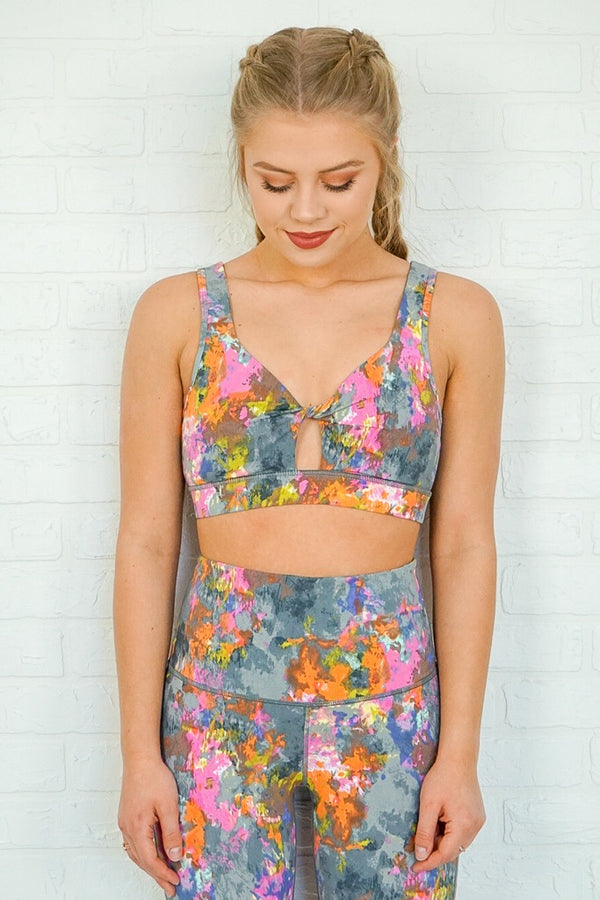 Splatter Print Twist Cutout Sports Bra - Madison + Mallory