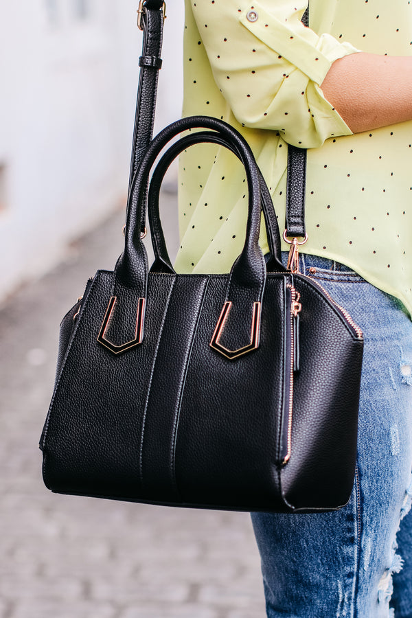 Black Just Promoted Faux Leather Satchel - Black - Madison + Mallory
