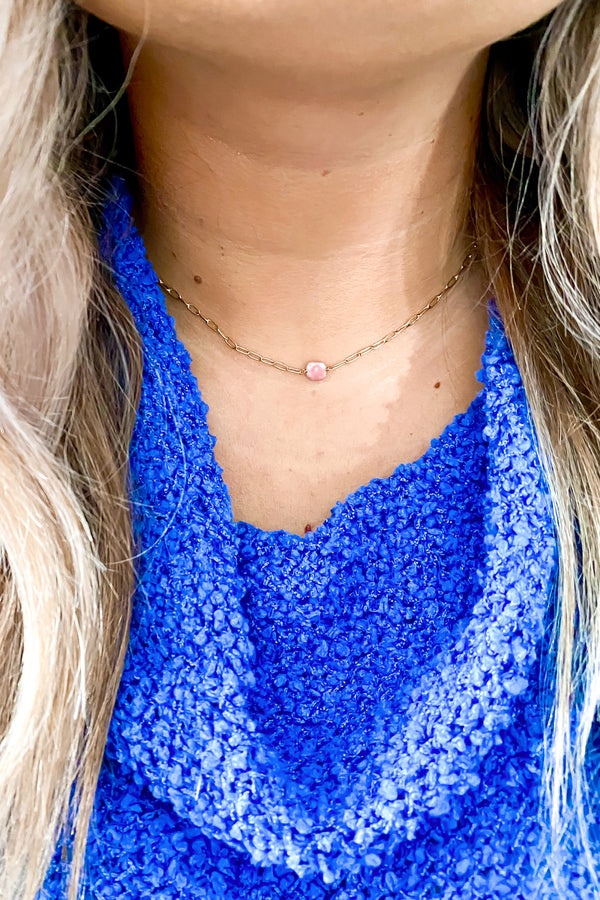 Pink Sereia Dainty Stone Necklace - Madison and Mallory