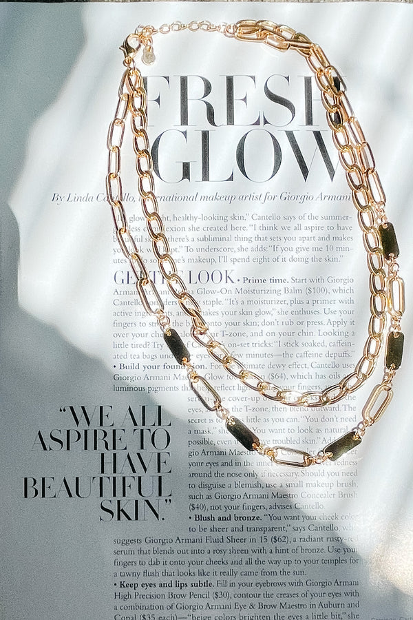 Gold Double Time Layered Chain Necklace - Madison and Mallory