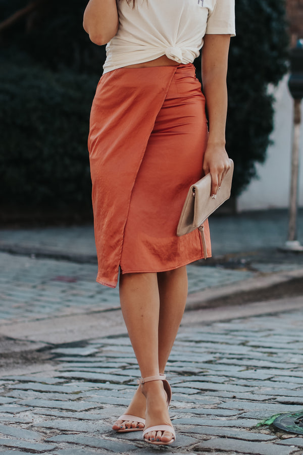 Copper / S En Vogue Satin Skirt - Copper - Madison + Mallory