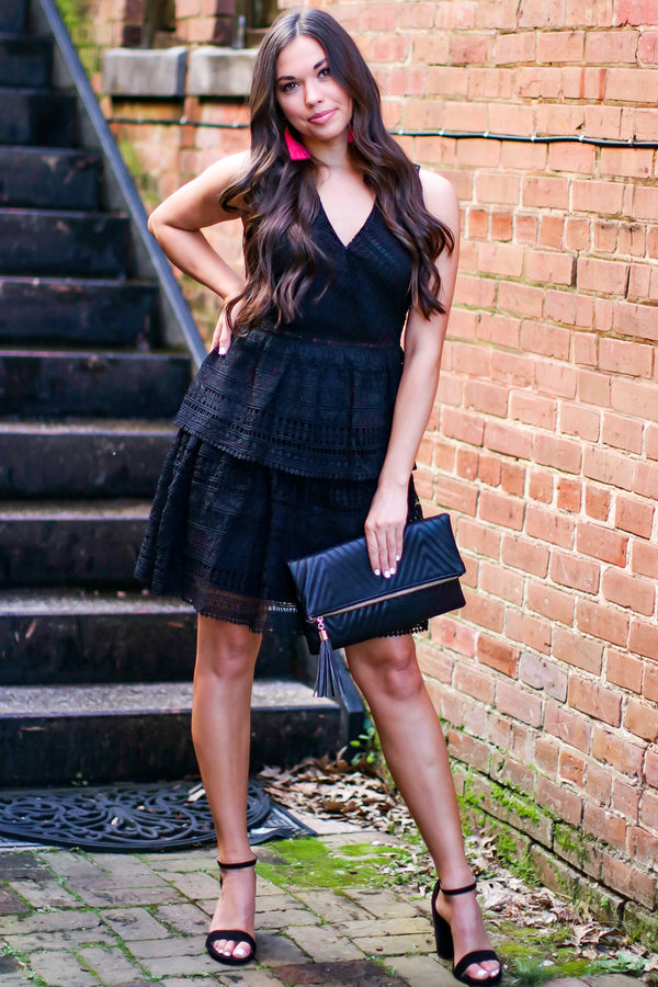 Black / S Just Add Moonlight Lace Tiered Dress - Black - FINAL SALE - Madison and Mallory