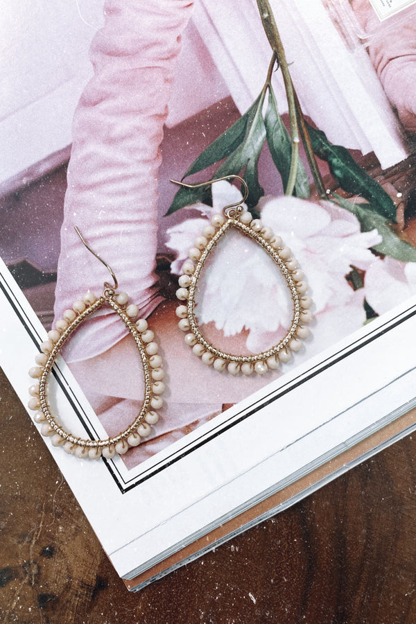 Beige Rediscover Beaded Accent Earrings - Madison and Mallory