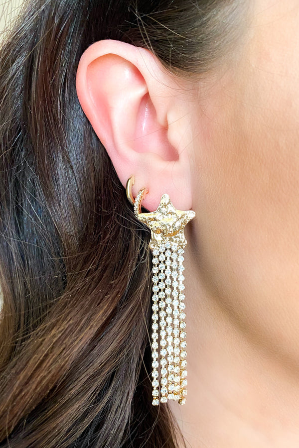 Gold Diamond in the Rough Star Crystal Drop Earrings - Madison and Mallory