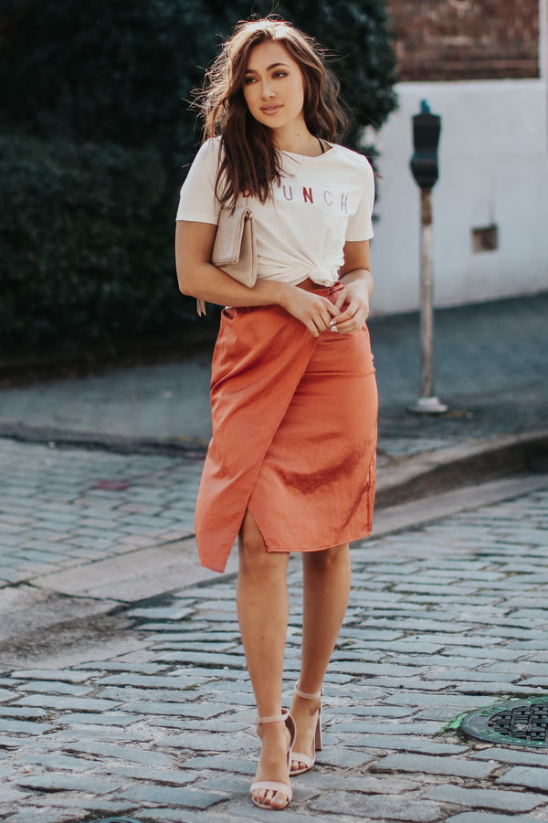 En Vogue Satin Skirt - Copper - Madison + Mallory