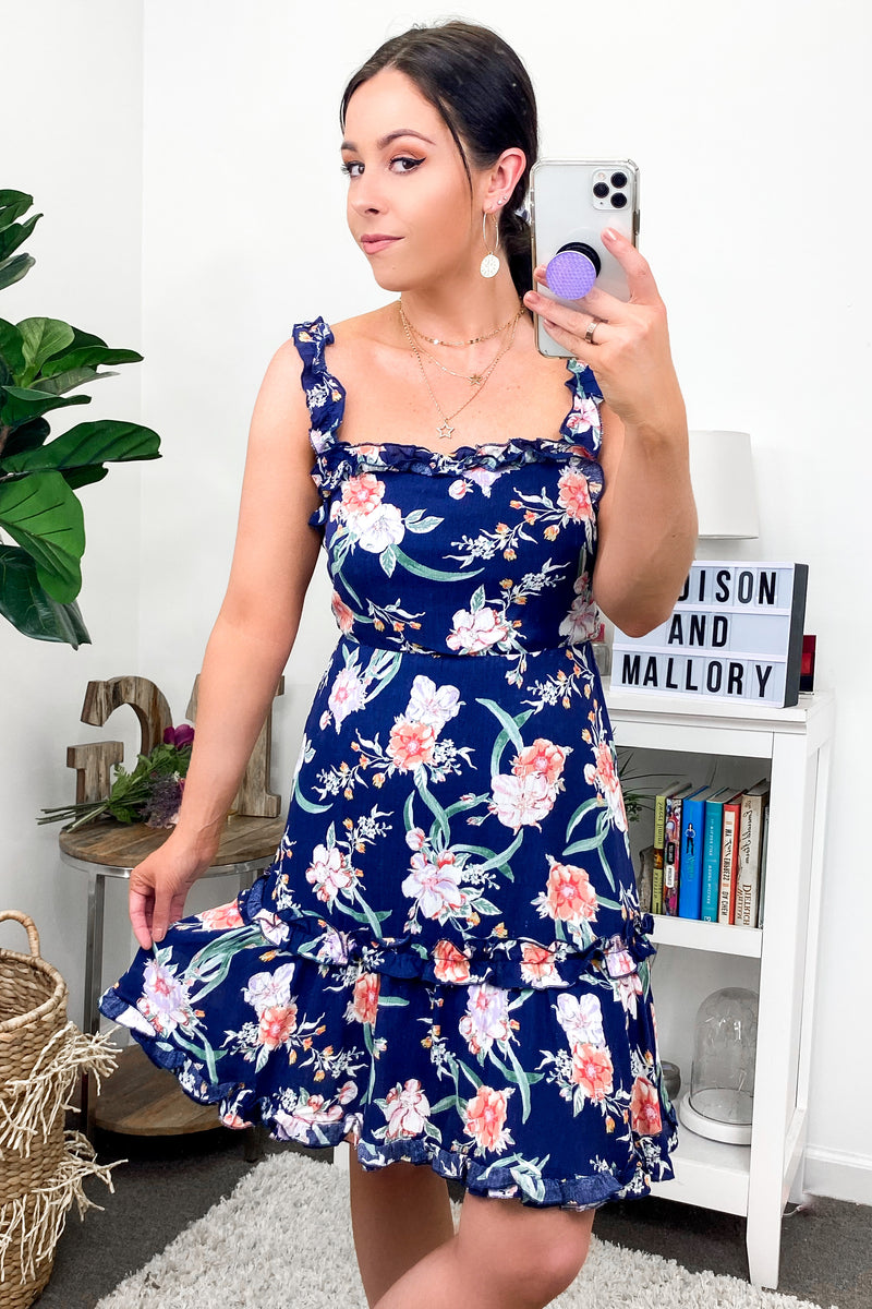 All a Flutter Floral Fit and Flare Dress - Navy - Madison and Mallory