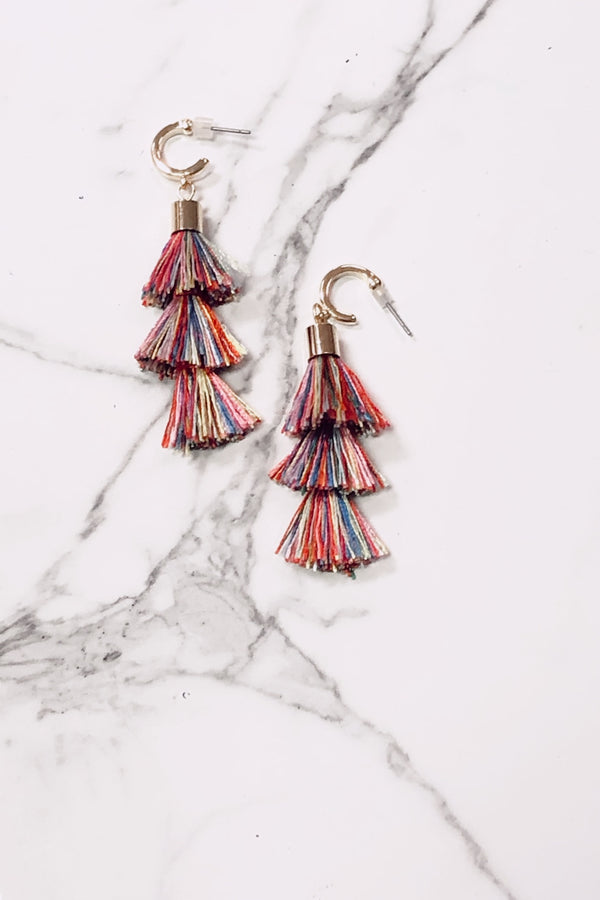 Multi Last Moment Multi Color Tassel Earrings - Madison and Mallory